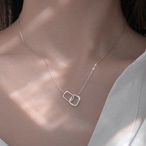 *NEW 925 Sterling Silver Diamond Square Necklace A